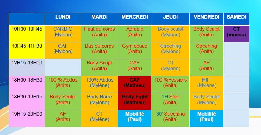 Planning Cours collectifs